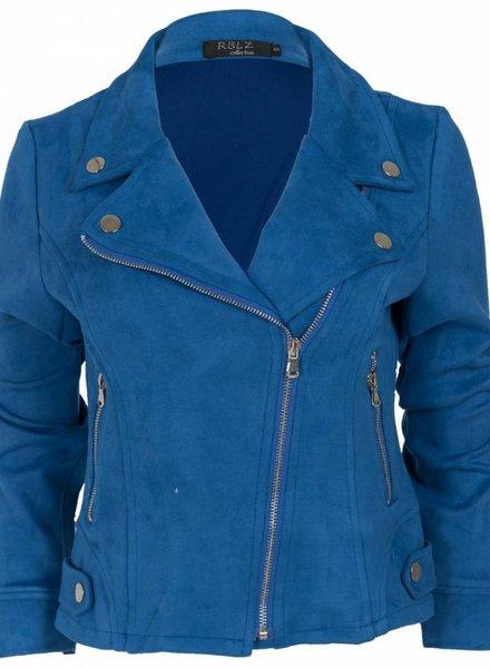 Rebelz Collection Biker jacket suede kobalt