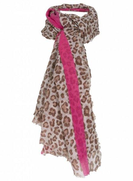 Sjaal Dex panterprint bruin/roze