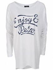 Wannahavesfashion Shirt big relax wit/blauw