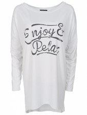 Wannahavesfashion Shirt big relax wit/grijs