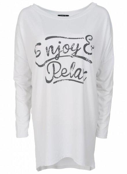 Wannahavesfashion Shirt big relax wit/grijs