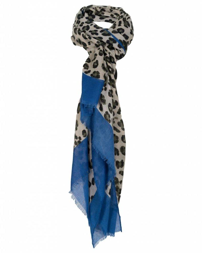Wannahavesfashion Sjaal panter Bruno zwart/kobalt