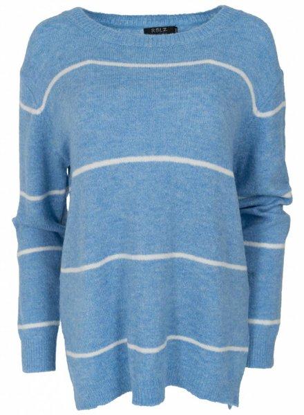 Rebelz Collection Trui Virgil streep jeansblauw