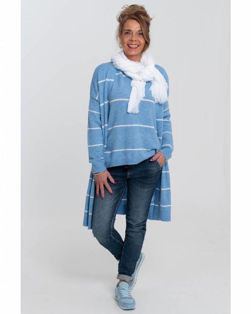 Rebelz Collection Vest Virgil streep jeansblauw