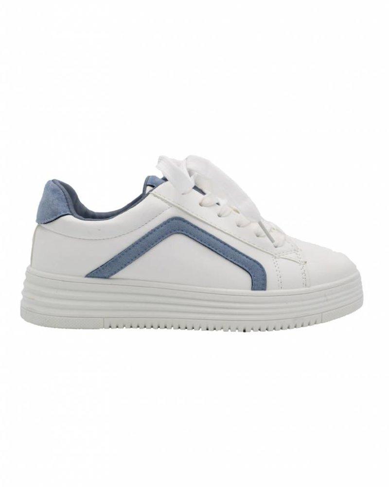 Wannahavesfashion Sneaker Diaz wit/lichtblauw