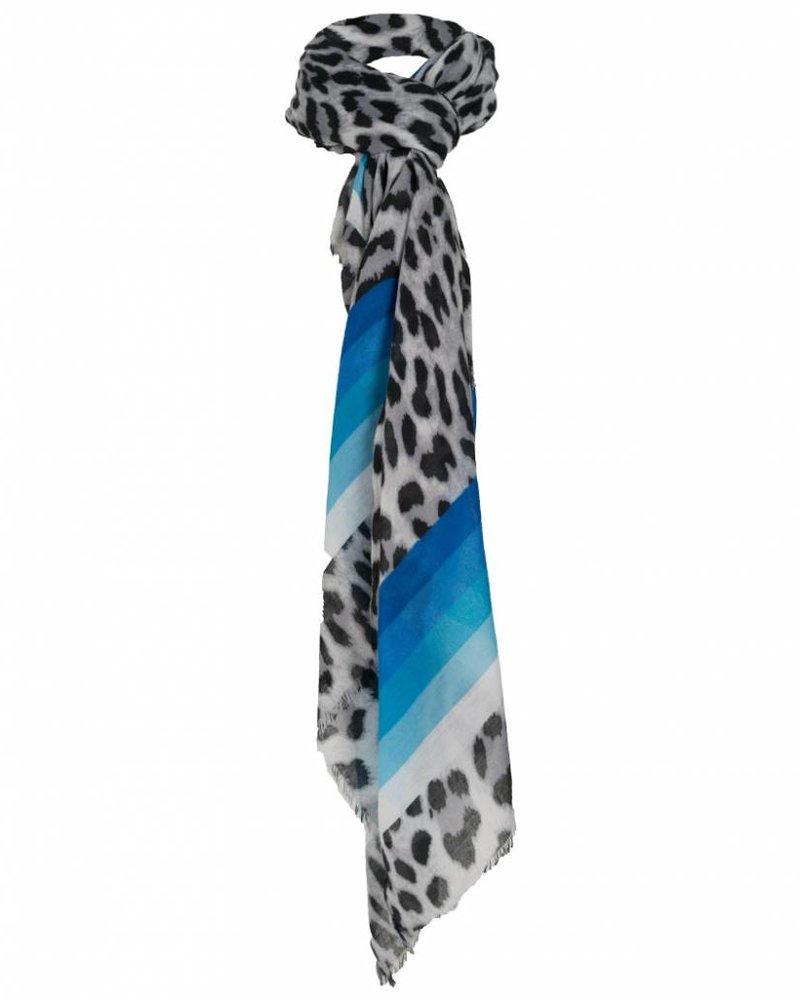 Wannahavesfashion Sjaal Meta panterprint blauw/zwart