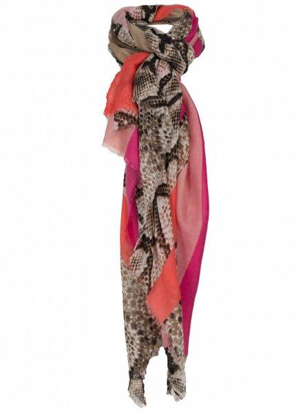 Wannahavesfashion Sjaal Kyara snake print fuchsia/bruin