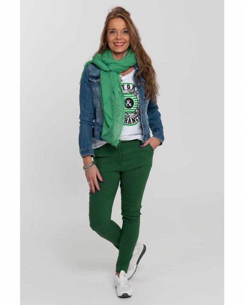 Vera Jo Pantalon Pim jacquard groen