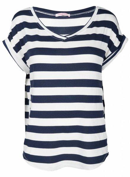 Gemma Ricceri Shirt Esmee streep wit/blauw