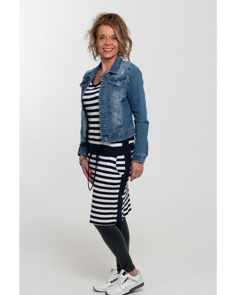 Gemma Ricceri Jurk Katja streep donkerblauw/wit