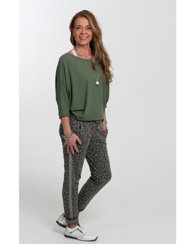 Gemma Ricceri Joggingbroek Ezra panterprint groen