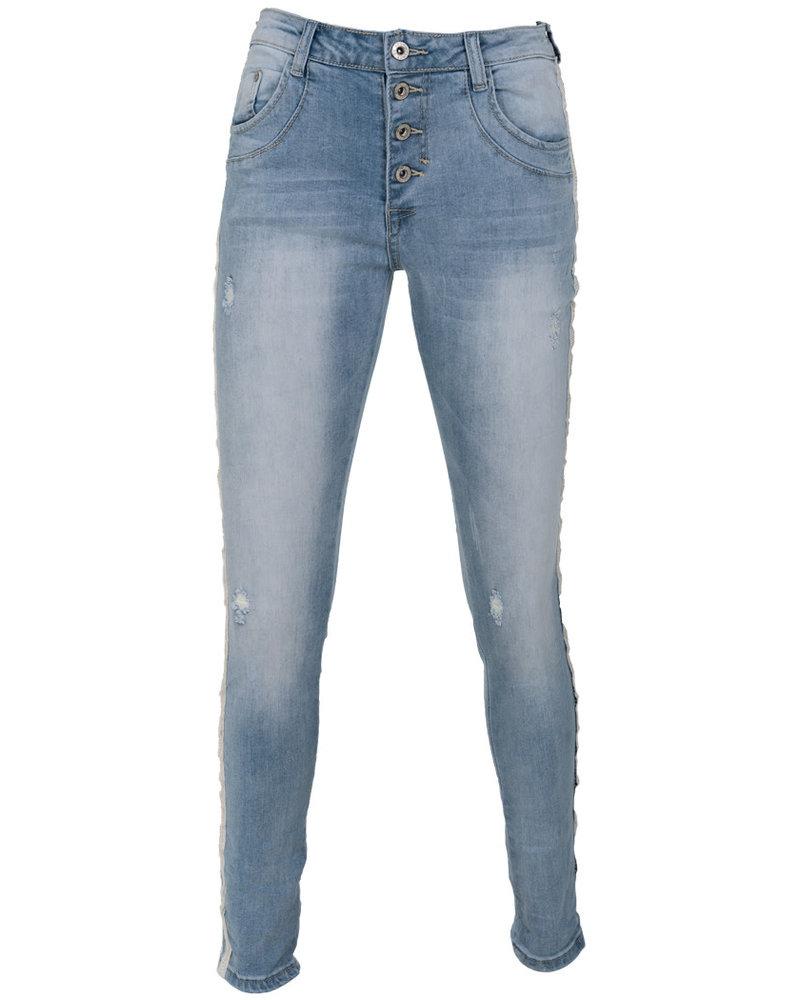 place du Jour Jog jeans Vivi damaged blauw