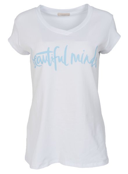 Gemma Ricceri Shirt beautiful minds wit/babyblauw