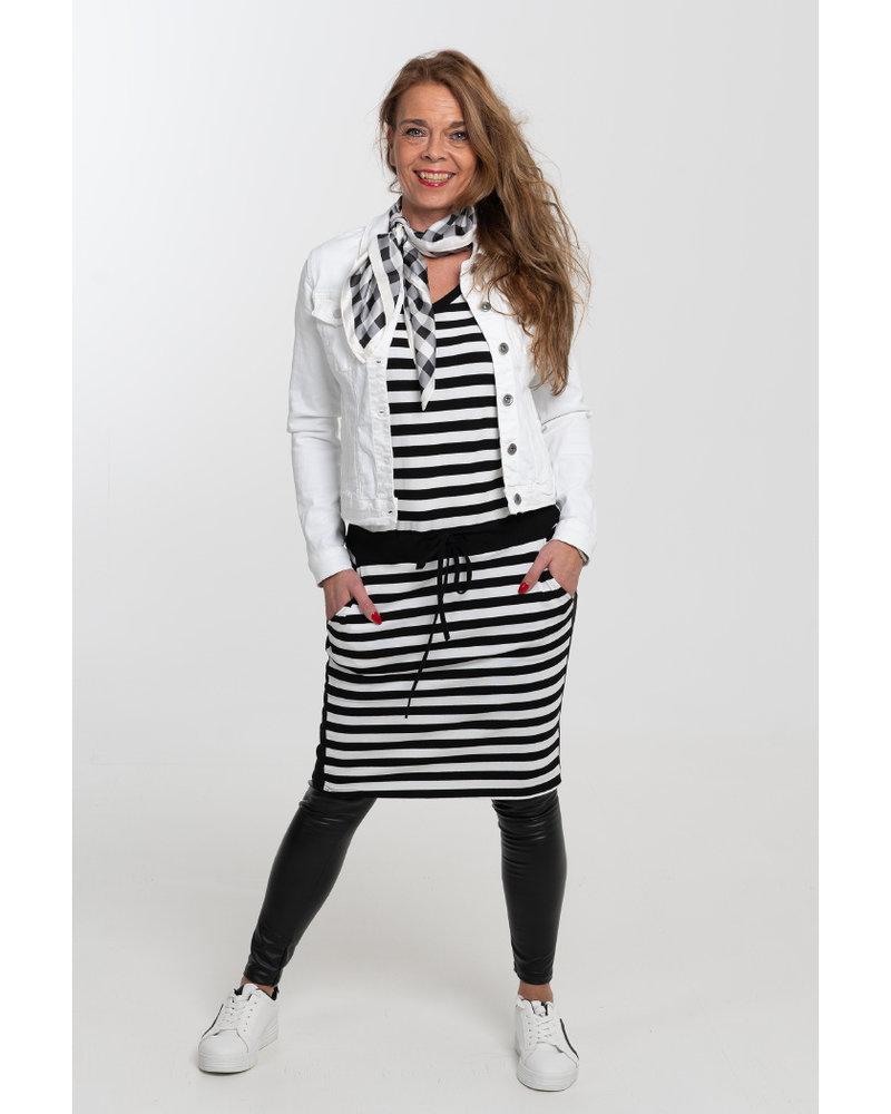 Gemma Ricceri Jurk Katja streep zwart/wit