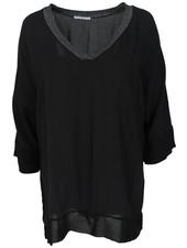 Gemma Ricceri Shirt Mexi v hals zwart