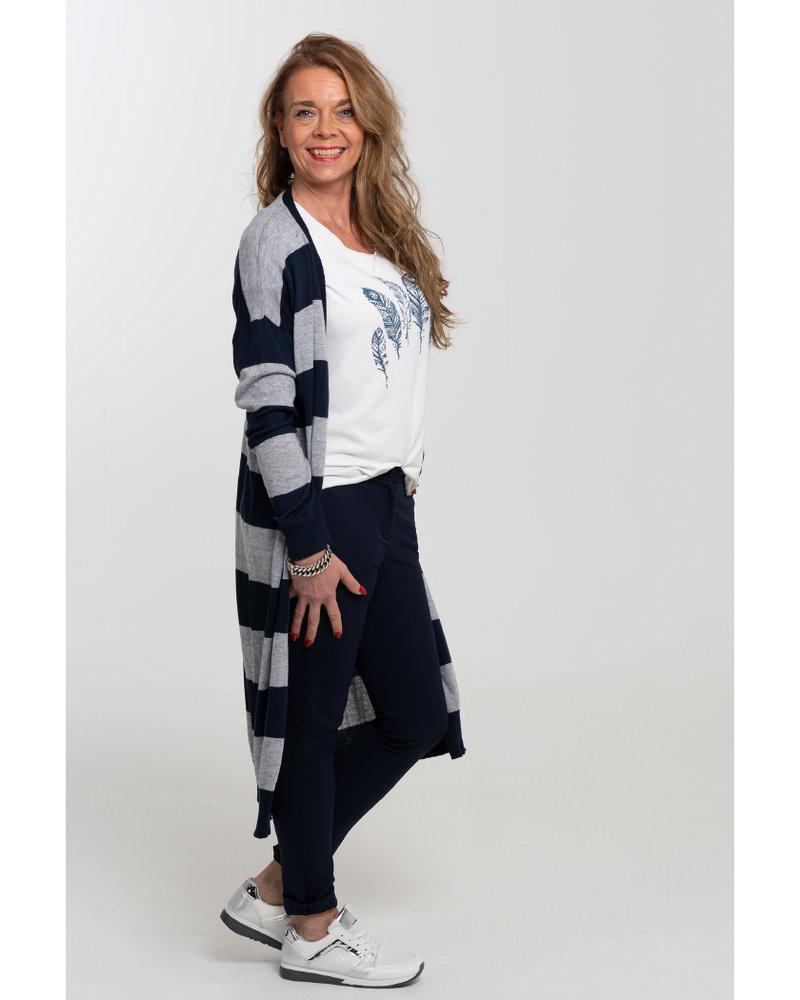 Gemma Ricceri Shirt Veertjes wit/blauw