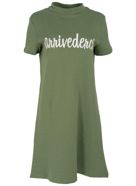 Rebelz Collection Sweaterdress arrivederci groen