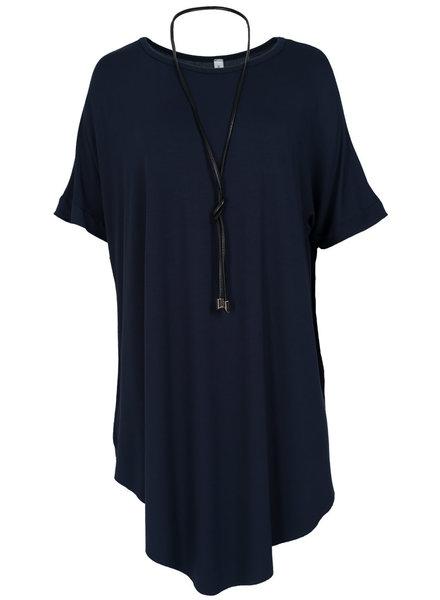 Wannahavesfashion Shirt Vera met veter donkerblauw