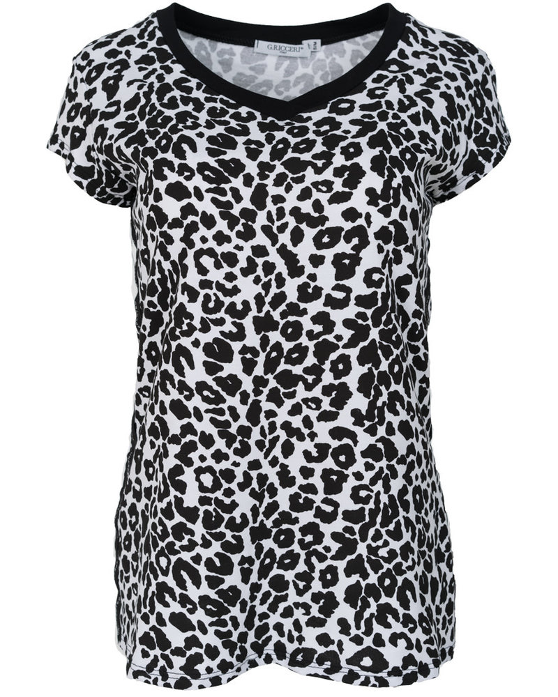 Gemma Ricceri Shirt Tara panterprint zwart/wit