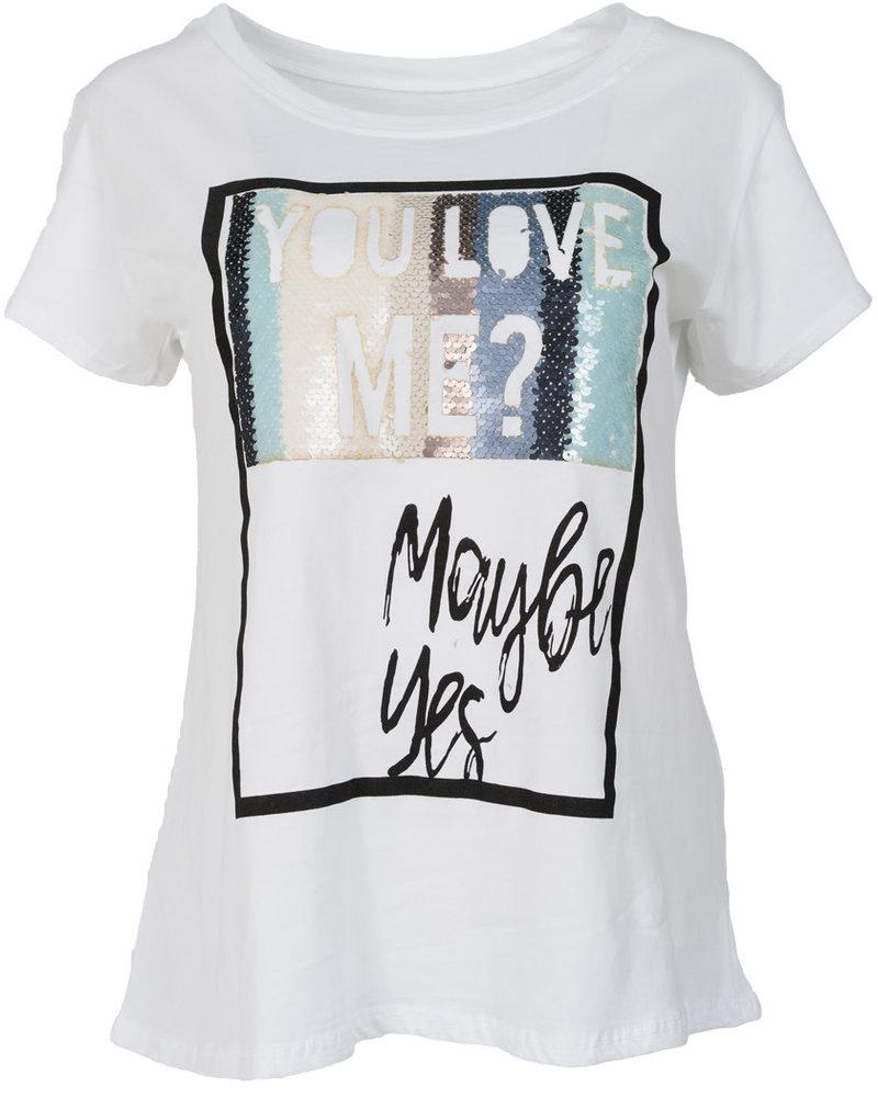 Gemma Ricceri Shirt Maybe yes wit/blauw