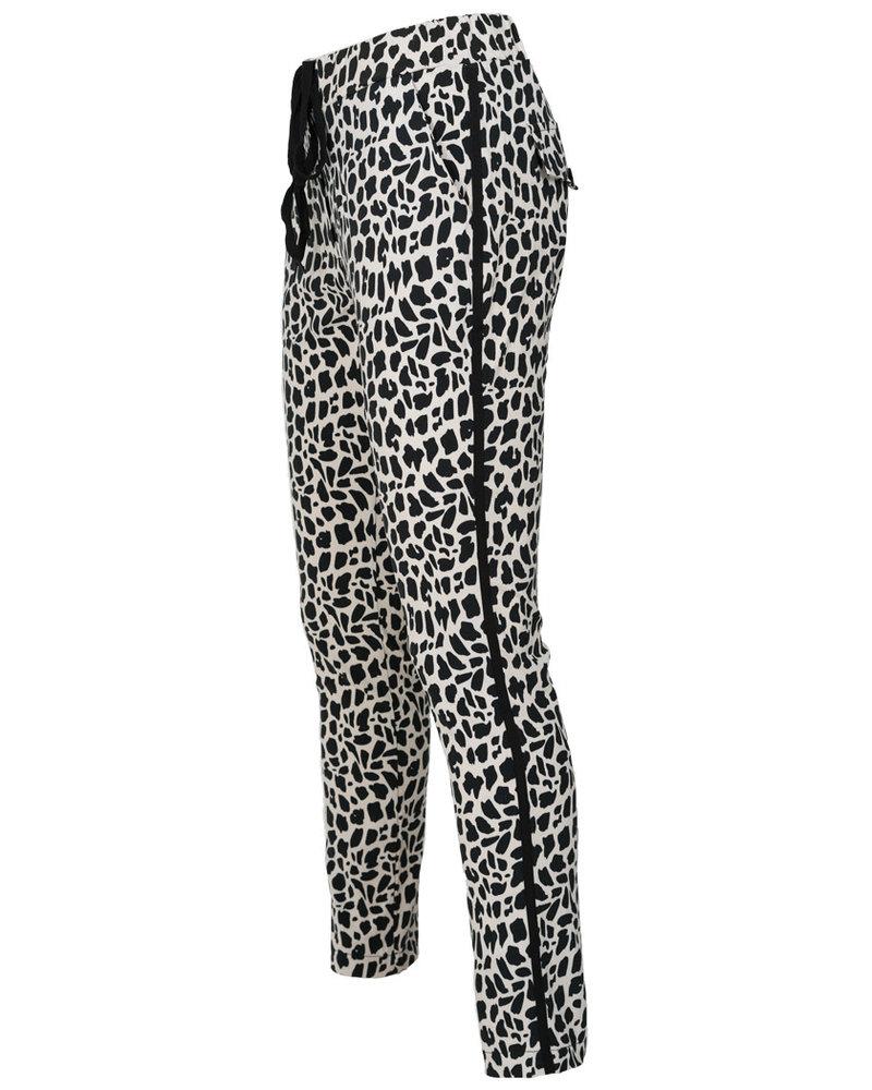 Vera Jo Pantalon panterprint Duna wit/zwart
