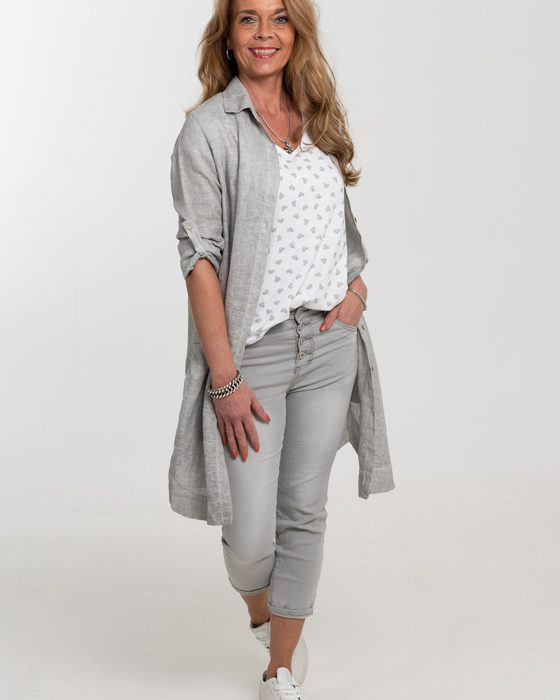 Gemma Ricceri Shirt Gina hartjes grijs/wit