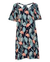 Rebelz Collection Jurk Flamingo blauw/roze