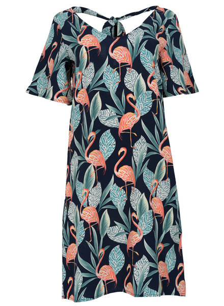 Rebelz Collection Jurk Flamingo blauw/roze