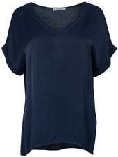 Gemma Ricceri Shirt silk touch v hals donkerblauw