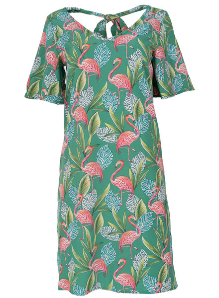 Rebelz Collection Jurk Flamingo groen/roze