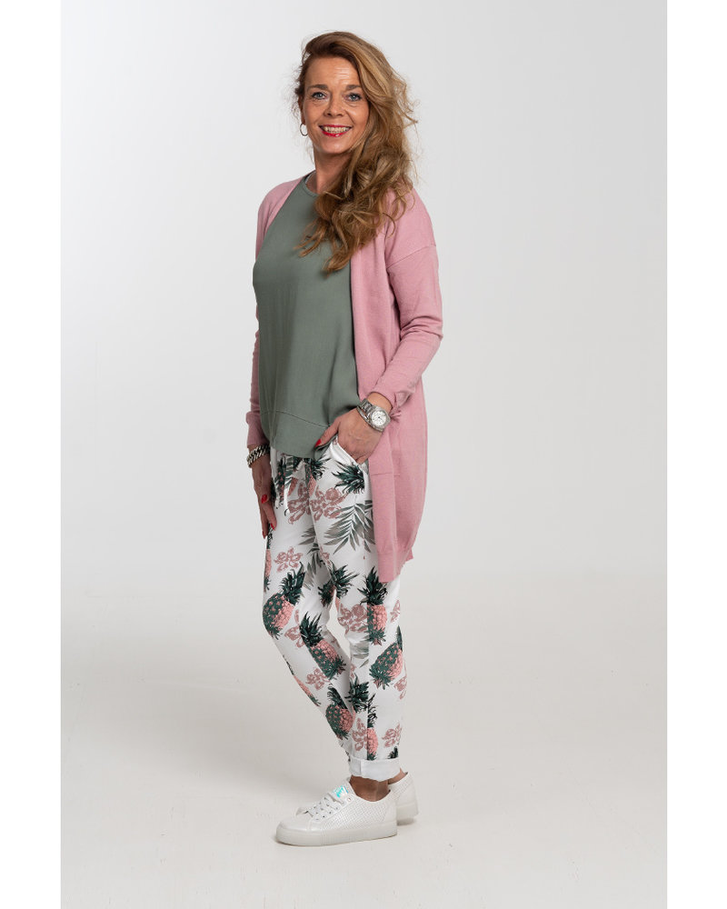 Rebelz Collection Joggingbroek Pine wit/oudroze