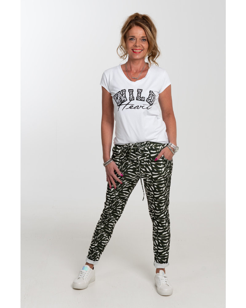Gemma Ricceri Broek zebraprint Tanja groen