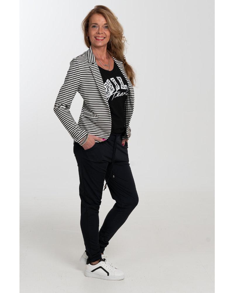 Gemma Ricceri Blazer streep Birgit zwart/wit