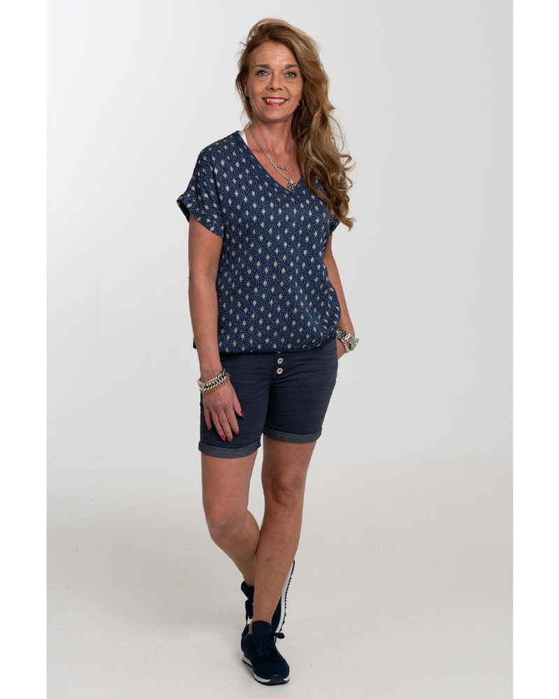 Gemma Ricceri Shirt silk touch v hals print blauw