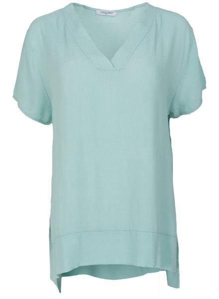 Gemma Ricceri Shirt v hals Macy aqua blauw