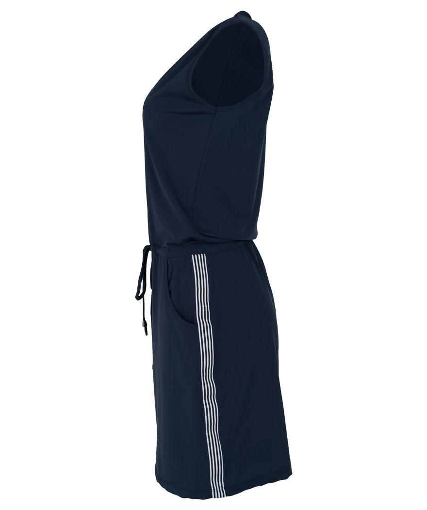 Vera Jo Jurk travelstof v hals blauw