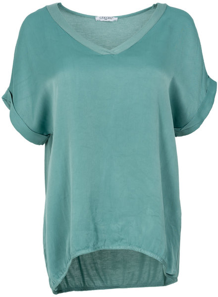 Gemma Ricceri Shirt silk touch v hals zeegroen