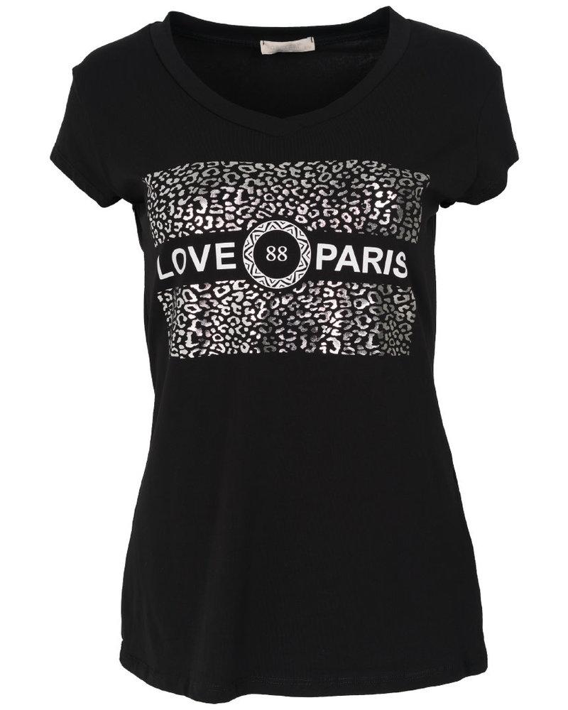 Gemma Ricceri Shirt love Paris zwart/zilver