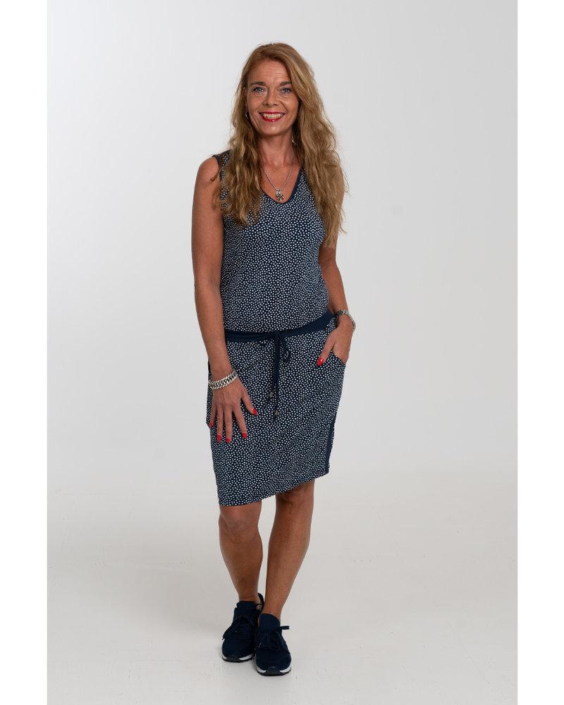 Vera Jo Jurk travel stip blauw/wit