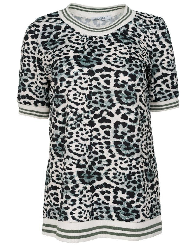 Gemma Ricceri Shirt Loes panterprint zeegroen