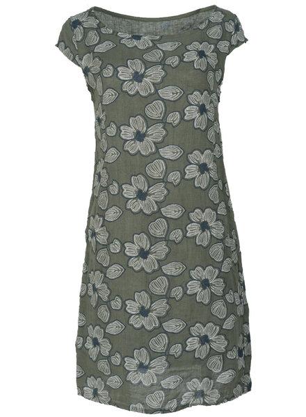Gemma Ricceri Jurk linnen bloem groen