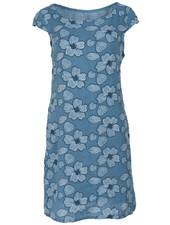 Gemma Ricceri jurk linnen bloem jeansblauw