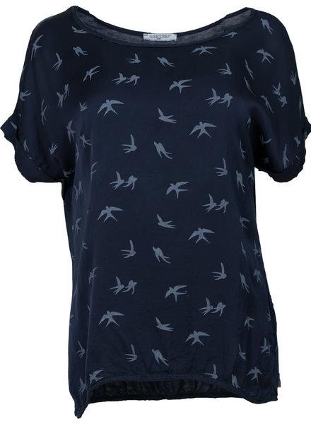 Gemma Ricceri Shirt silk touch zwaluw blauw