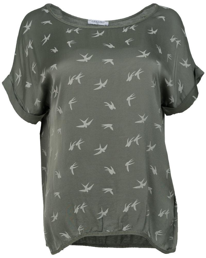 Gemma Ricceri Shirt silk touch zwaluw groen
