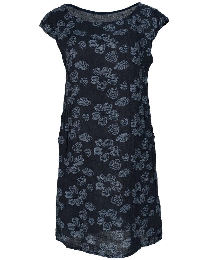 Gemma Ricceri Jurk linnen bloem donkerblauw