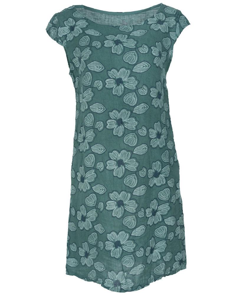 Gemma Ricceri Jurk linnen bloem zeegroen