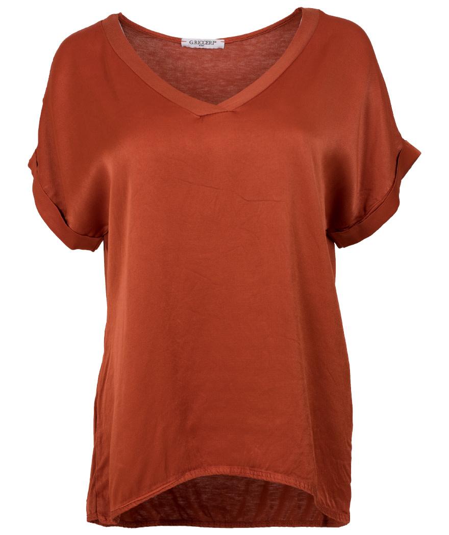 Gemma Ricceri Shirt silk touch v hals roestbruin