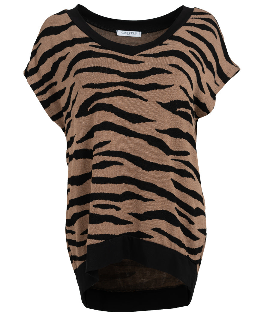Gemma Ricceri Shirt Tini zebra zwart/camel