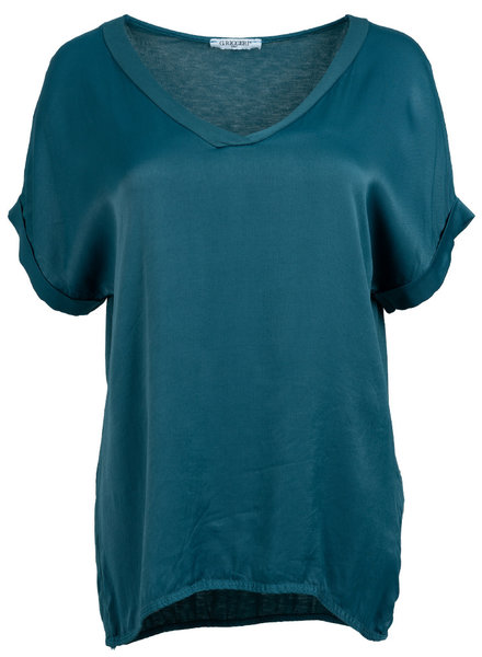 Gemma Ricceri Shirt silk touch v hals petrol donker