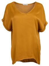 Gemma Ricceri Shirt silk touch v hals okergeel